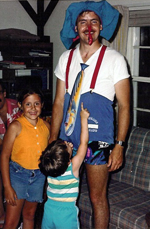 Dad amusing the kids with a rather outrageous outfit