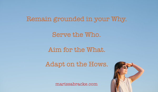 Remain grounded in your Why. Serve the Who. Aim for the What. Adapt on the Hows.