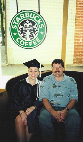Dad and me at Starbucks in Bloomington
