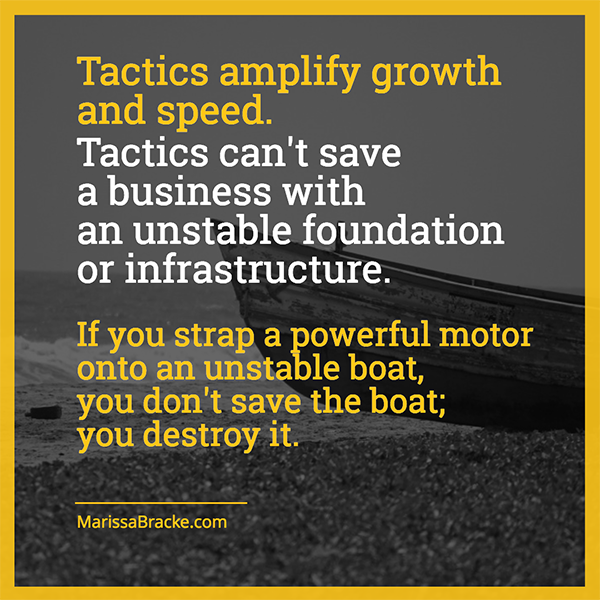 Tactics can't save a businesses with an unstable foundation or infrastructure