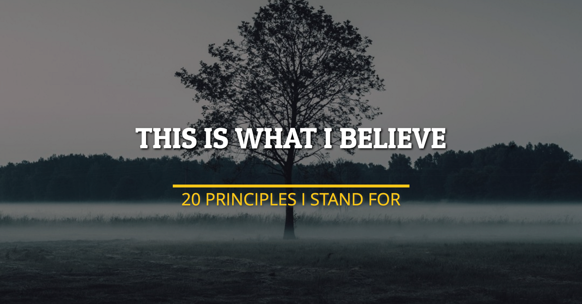 This Is What I Believe: 20 Principles I Stand For